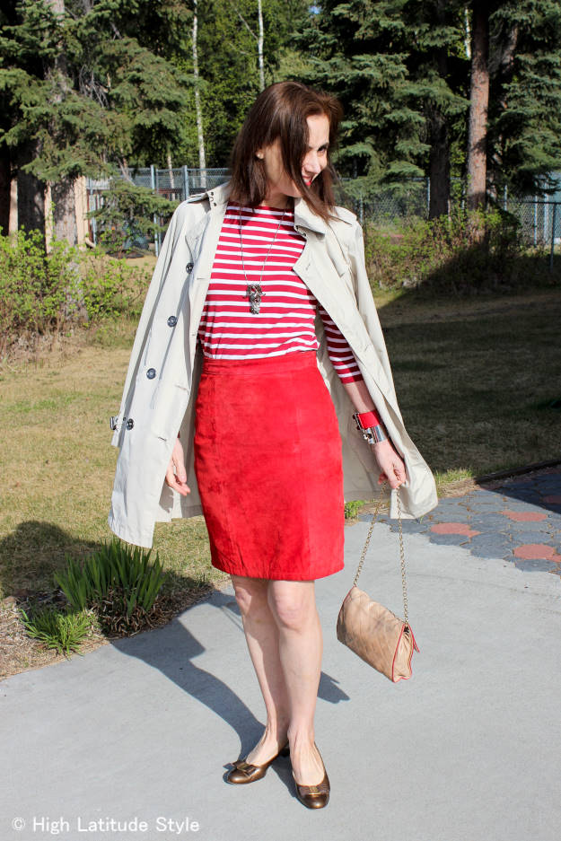 #styleover40 office outfit with suede skirt