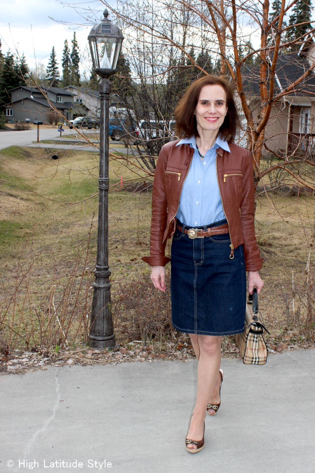 #fashionlinkup mature casual Friday outfit at the top of the World Style party @ High Latitude Style
