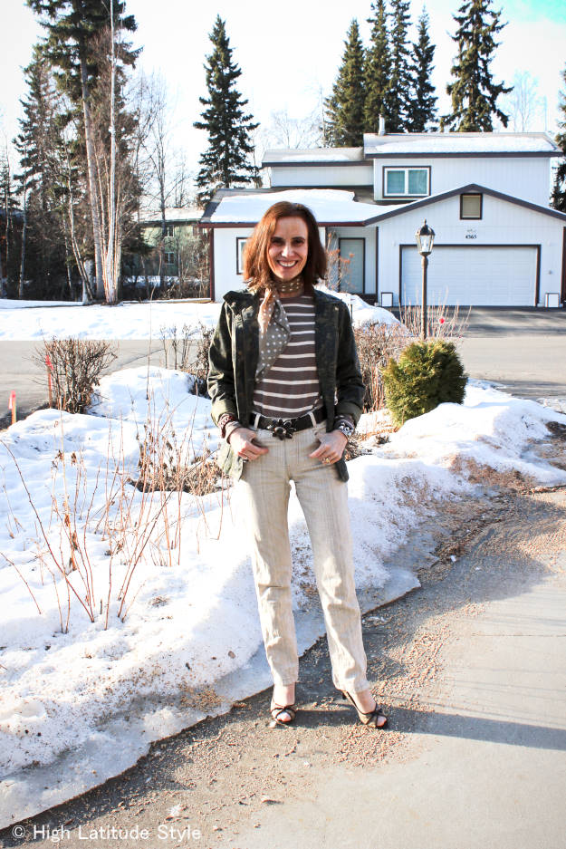 #maturefashion casual outfit in Alaska spring at High Latitude Style