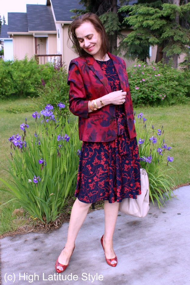 #styleover40 Dress with dyed blazer