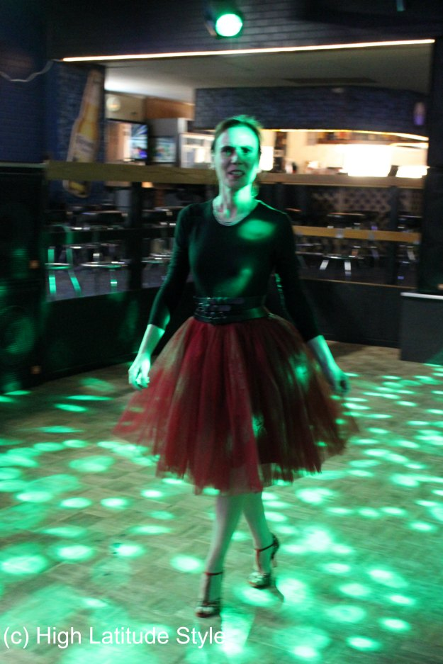 #fashionover50 mature woman dancing the night away