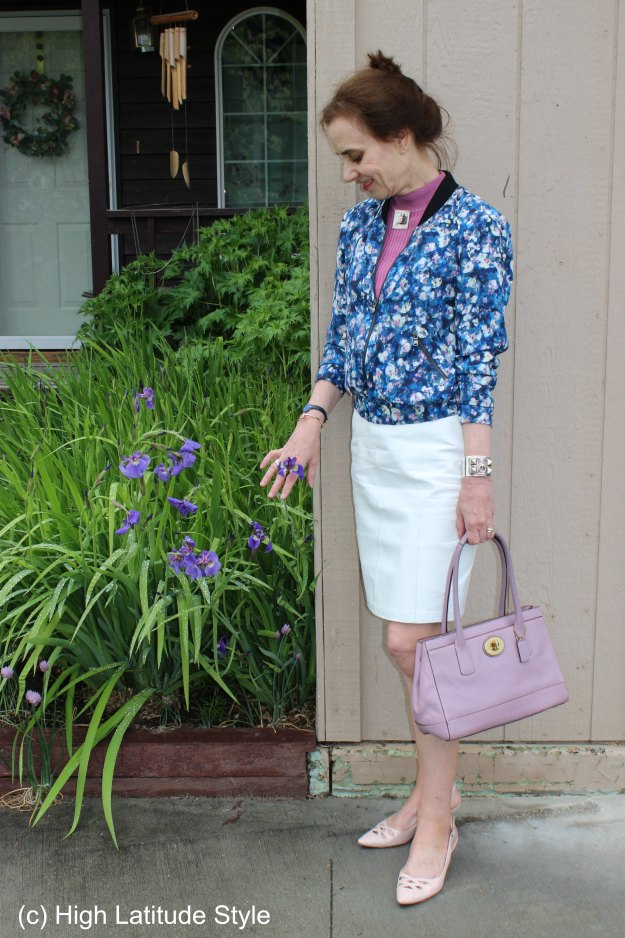 #fashionover50 Work outfit with floral bomber jacket @ http://wp.me/p3FTnC-4X4