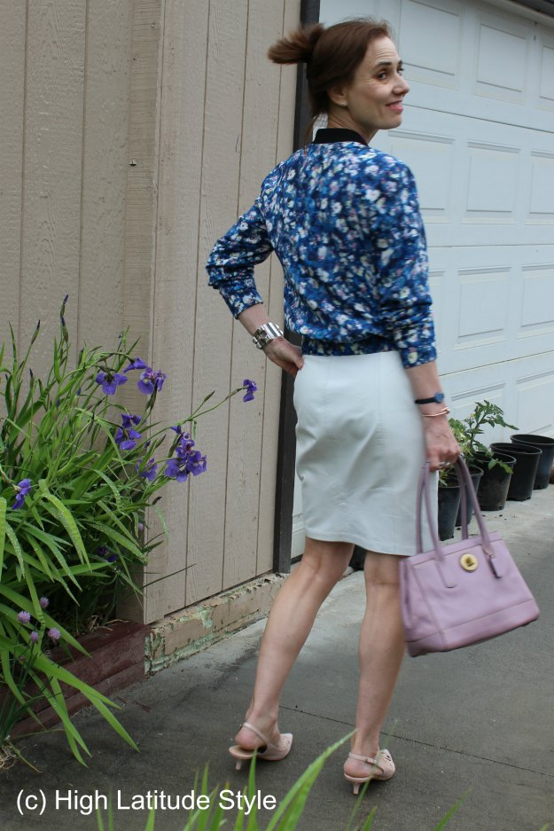 #turningFashionIntoStyleOver40  floral bomber with skirt for the office @ http://wp.me/p3FTnC-4X4