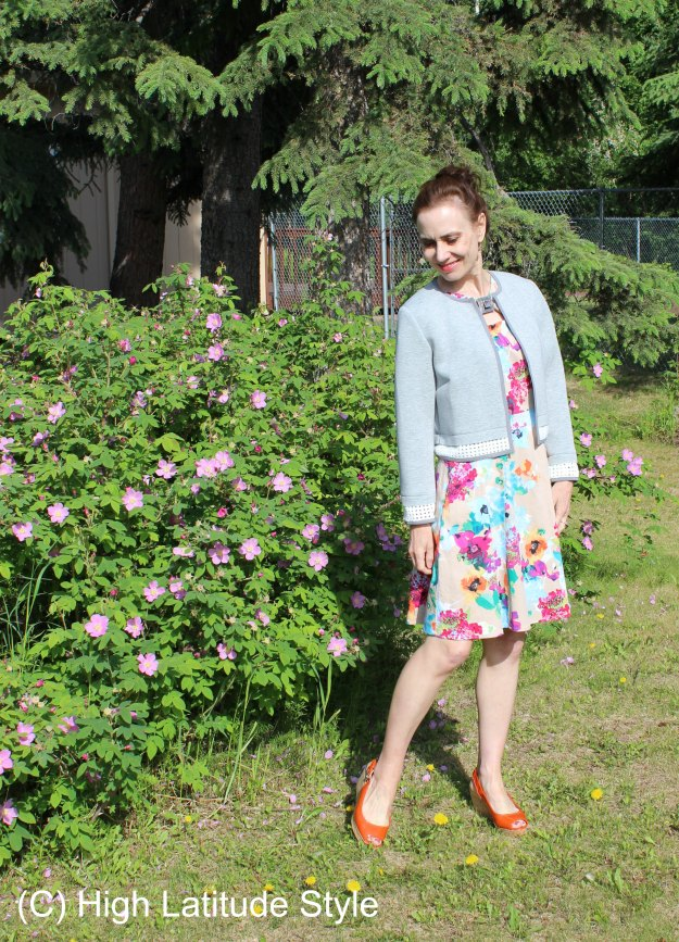 #maturestyle abstract floral print  fit-and-flare summer dress @ High Latitude Style
