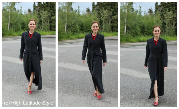 #fashionover50 maxi coat with dance shoes @ http://wp.me/p3FTnC-4X1