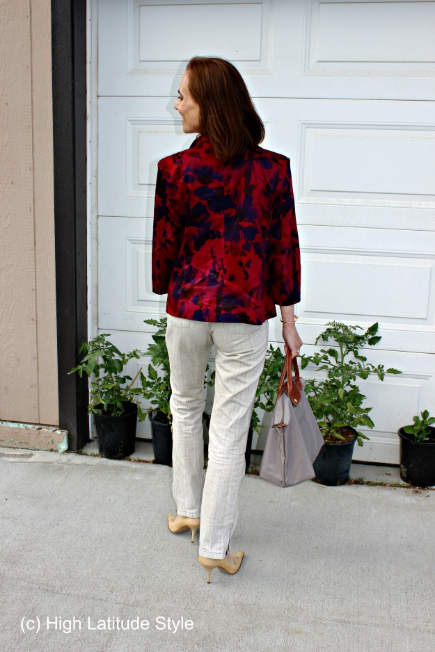 fashion over 50 linen pants with floral blazer for work