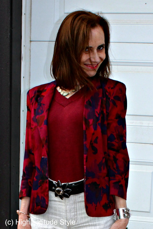 mature style with floral blazer