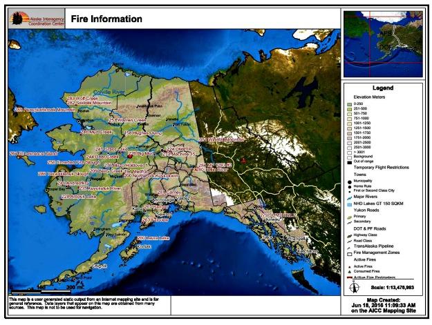 Fires burning in Alaska on June 18, 2016