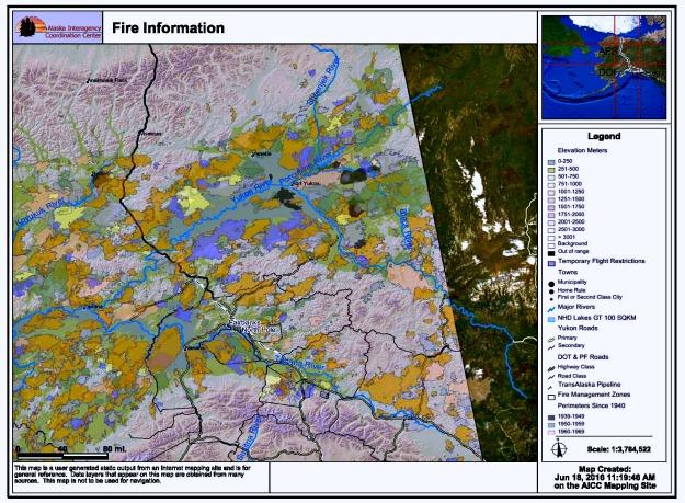 #FocusAlaska Areas burned by wildfires in Interior Alaska since 1939