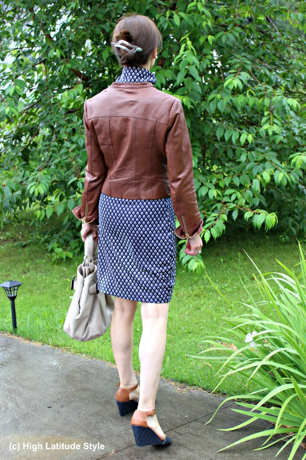 #fashionover50 mature woman in a dress with leather jacket work outfit