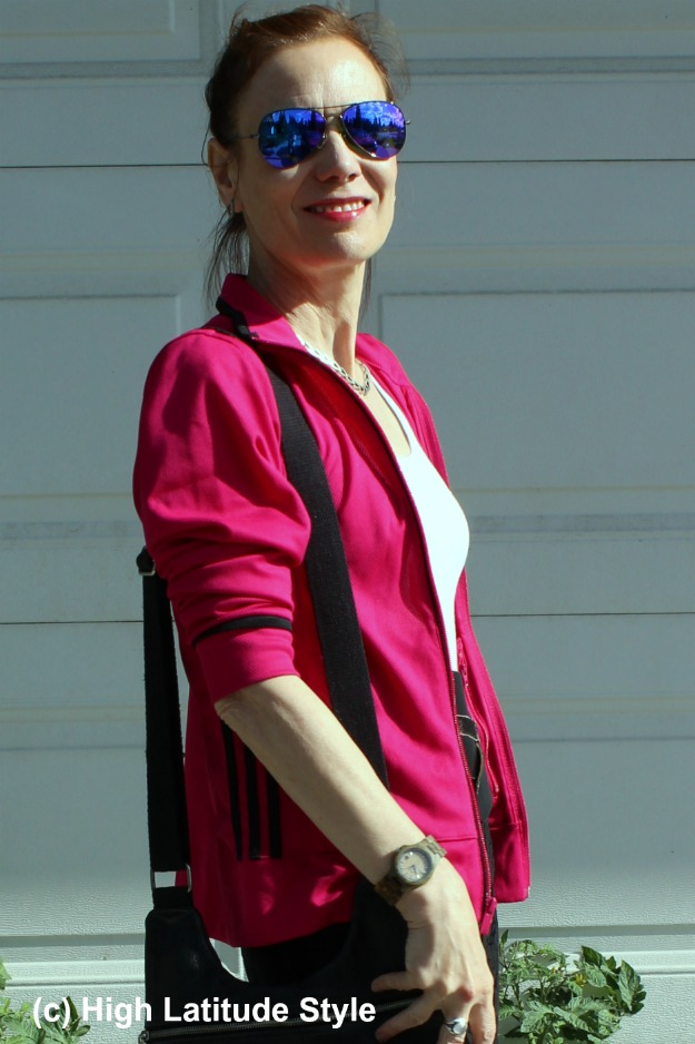 style over 50 mature woman in Adidas jacket