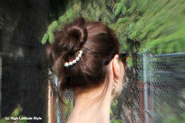 ageless up-do accessorized with barrette