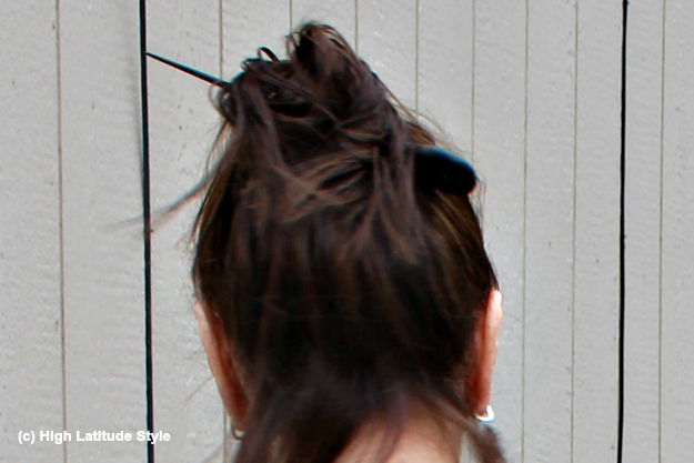 midlife woman with effortless updo