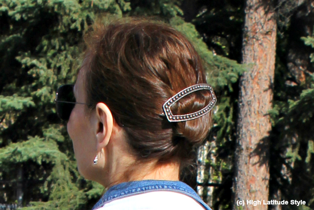 modern French knot with barrette