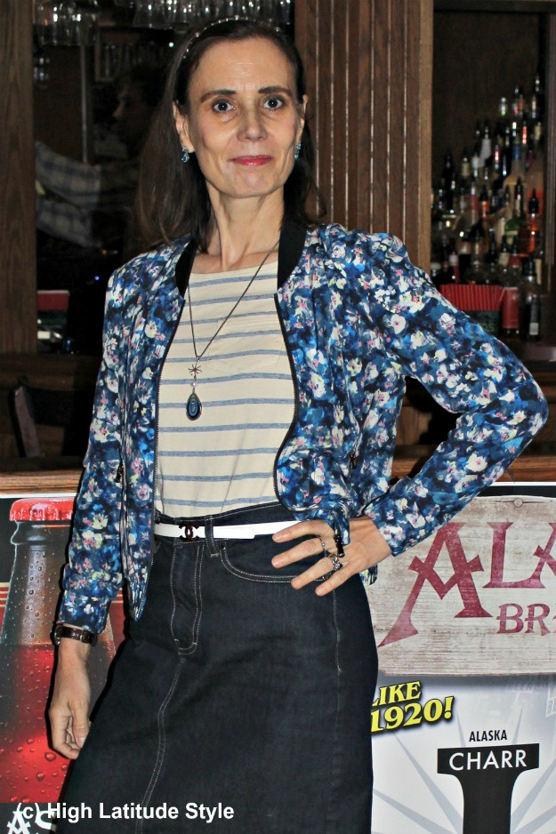 #styleover50 mature woman in skirt and bomber