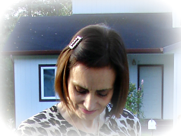 mature woman with hair clip