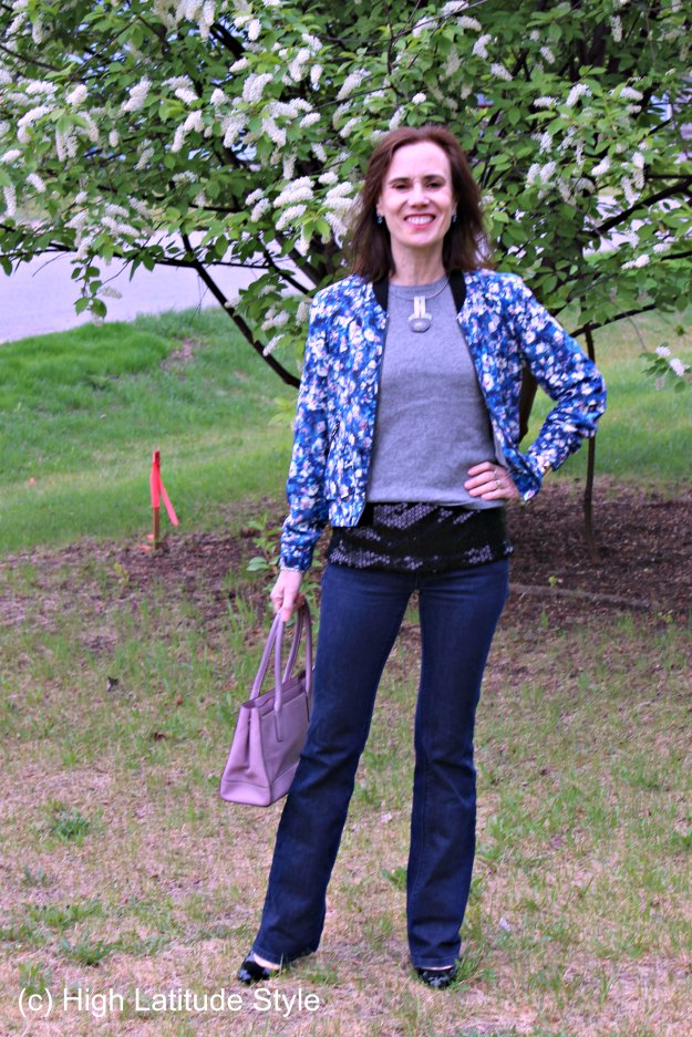 #styleover40 weekend outfit with floral bomber @ http://wp.me/p3FTnC-52F