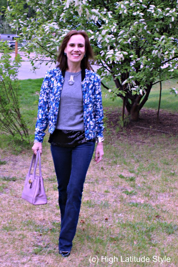 #fashionover40 mature look in foral bomber with flared jeans