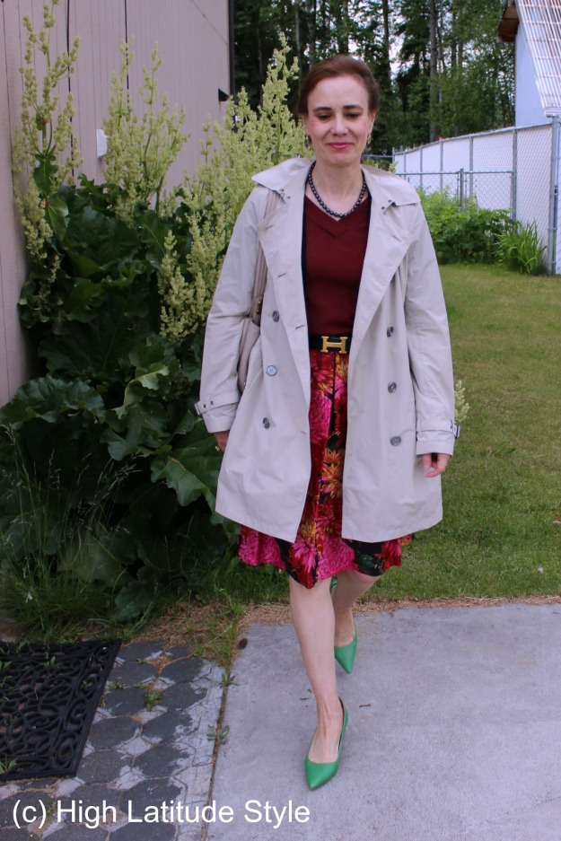 #fashionover50 mature woman wearing a floral skirt and trench coat @  http://wp.me/p3FTnC-52V