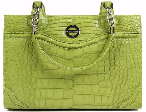 #FarbodBarsum Nicole lime green alligator work tote