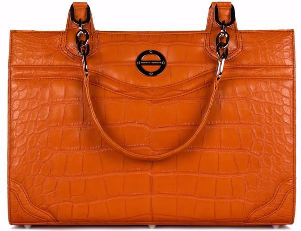 #FarbodBarsum Nicole tangerine alligator bag/work tote