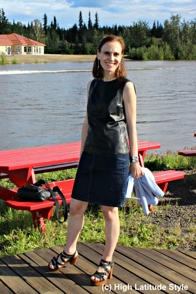#styleover40 mature woman standing at the Chena River