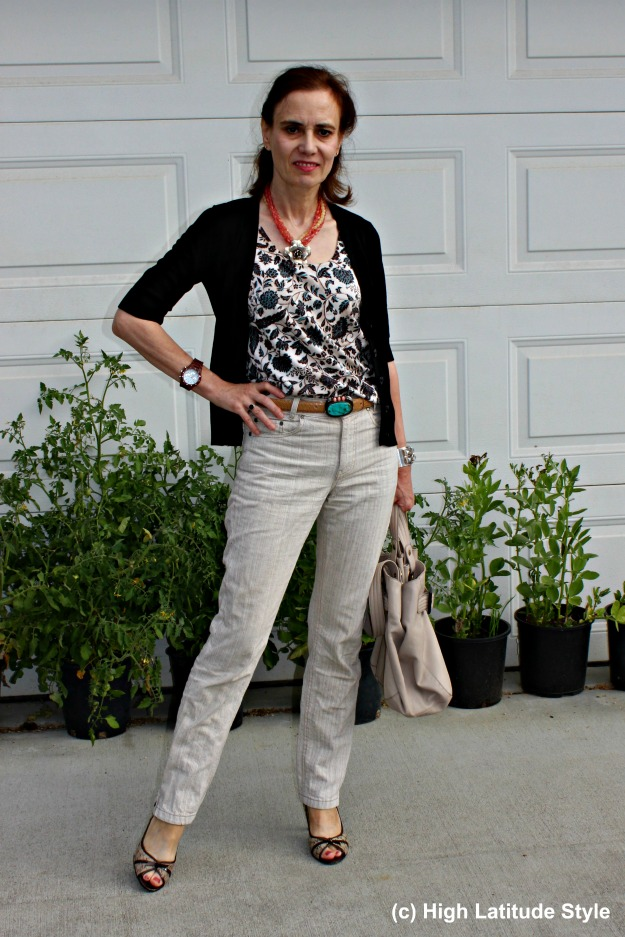 mature woman in a summer to fall transitional office outfit