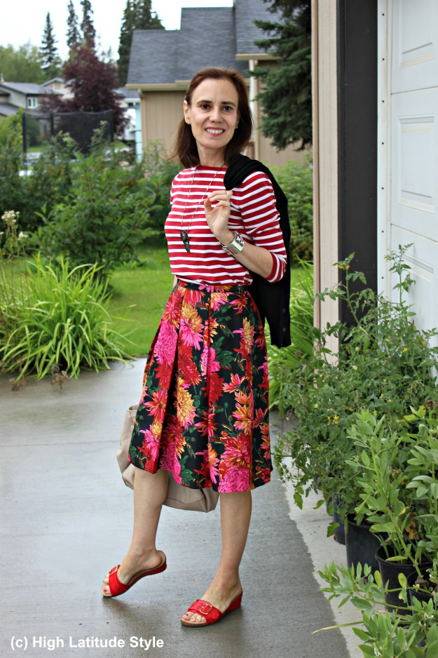 #fashionover40 mature Alaskan woman wearing stripes and floral clothes