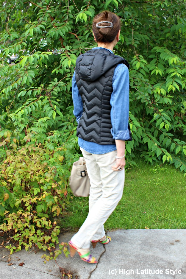 #fashionover40 Mature Alaskan woman with hoodie vest and chinos