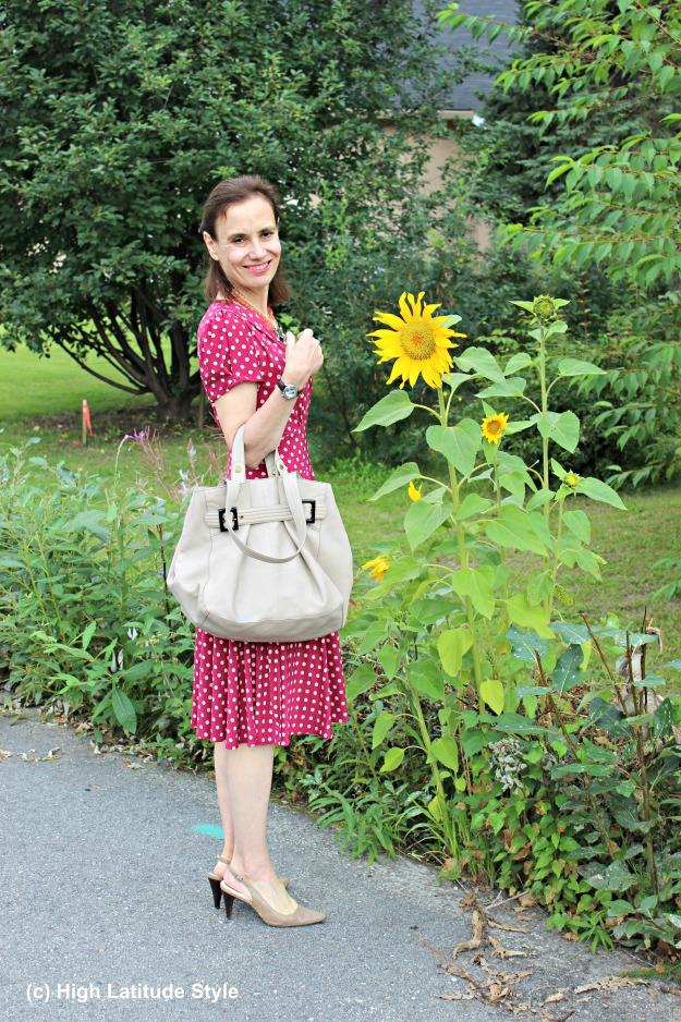 #maturefashion woman in polka dot dress