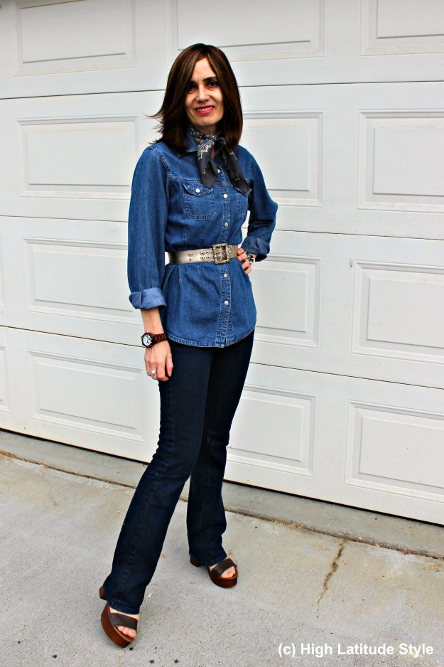 fashion over 50 woman in denim-on-denim casual look