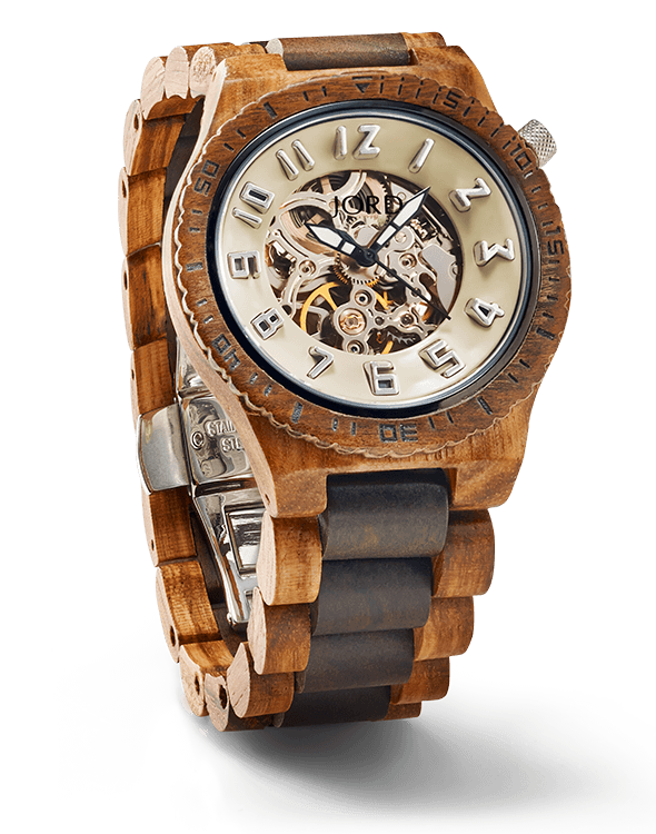 coolwatch wood watch with glass dial to see the interior mechanics