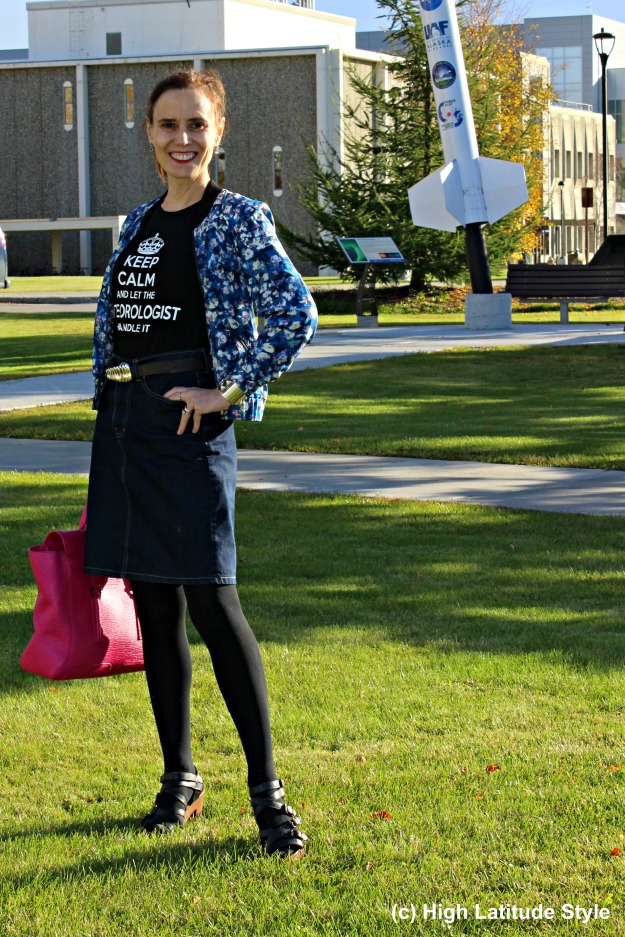 #maturestyle midlife woman in floral bomber and denim skirt