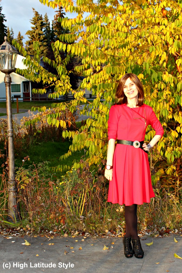 #fashionover50 woman in a little red dress