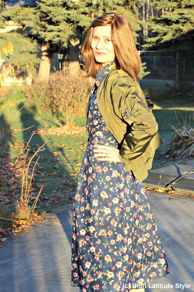 #fashionover40 mature woman wearing a bomber jacket