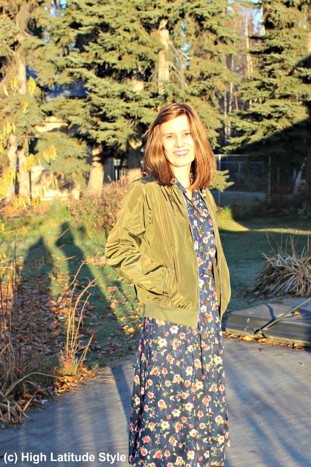 #styleover50 woman with dress and bomber jacket