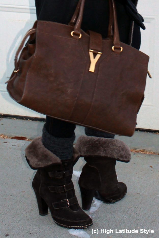 Söft booties and YSL bag