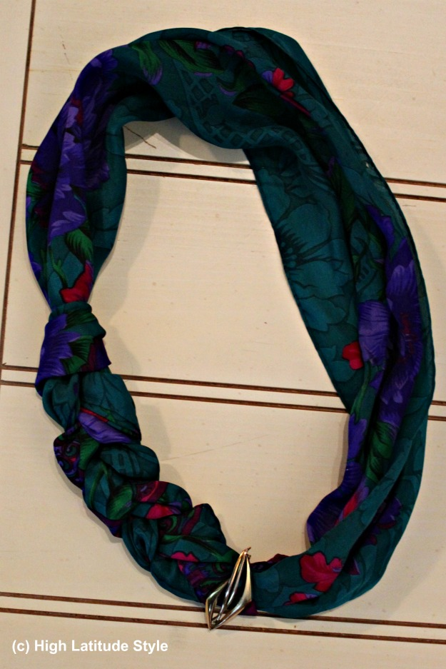 styleover40 braided scarf with brooch