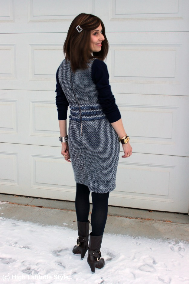 #fashionover40 woman in a sheath dress with sweater