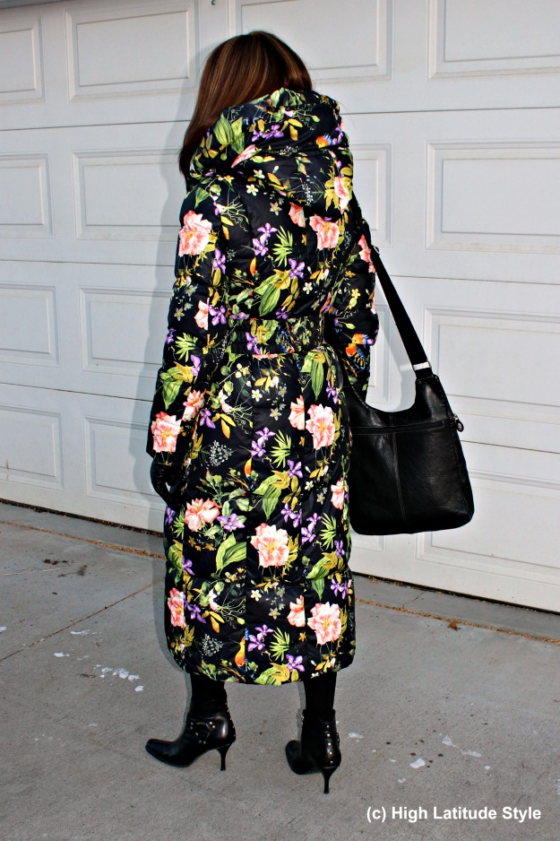 #styleover40 woman in floral puffer coat with hood