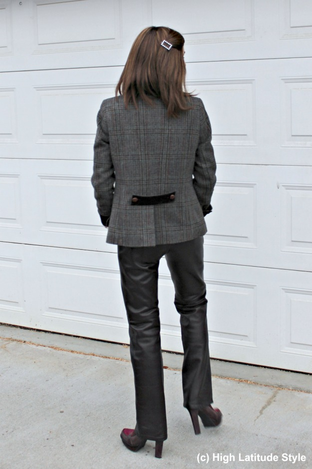 woman in straight leather pants and Irish blazer