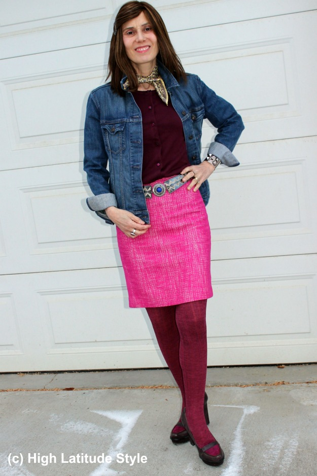 #fashionover50 woman in pink tweed skirt and denim jacket