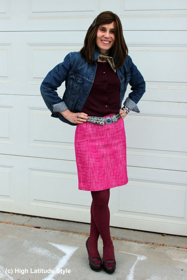 #fashionover40 woman in pink tweed skirt with yellow neckerchief