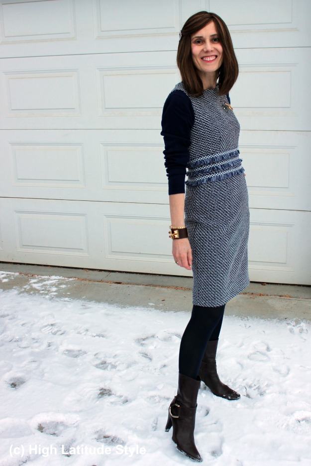 #styleover40 woman wearing a Chanel-inspired tweed dress