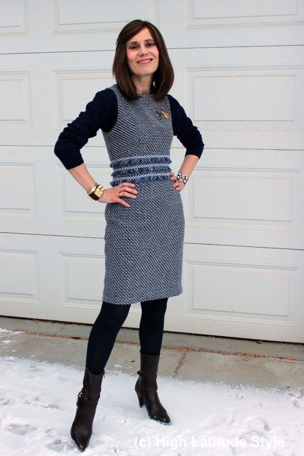 #fashionover50 woman in a navy tweed sheath work outfit