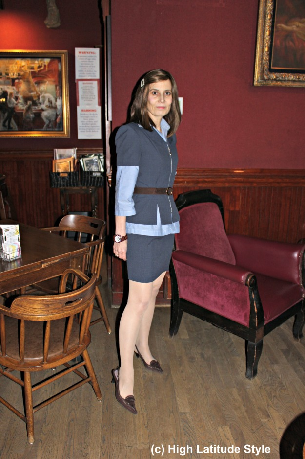 #fashionover40 woman in skirt suit work outfit