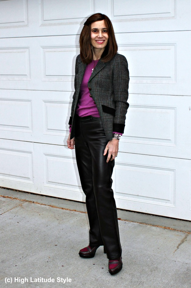 mature woman in business casual outfit with straight brown trousers