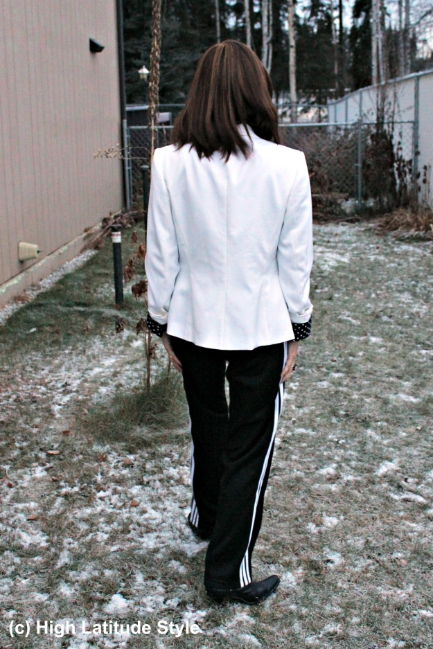 #fashionover50 woman in fake black and white suit