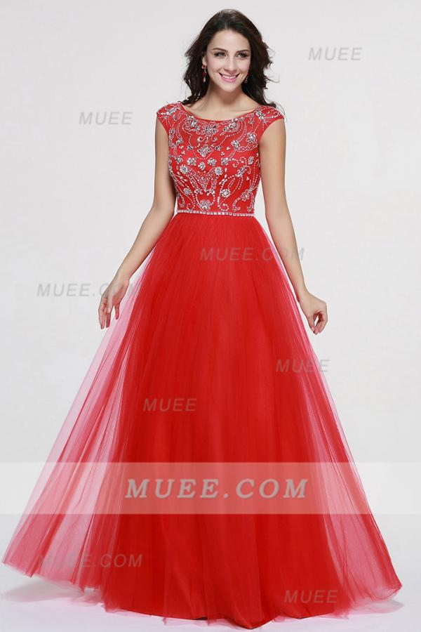 Muee tulle prom dress in red