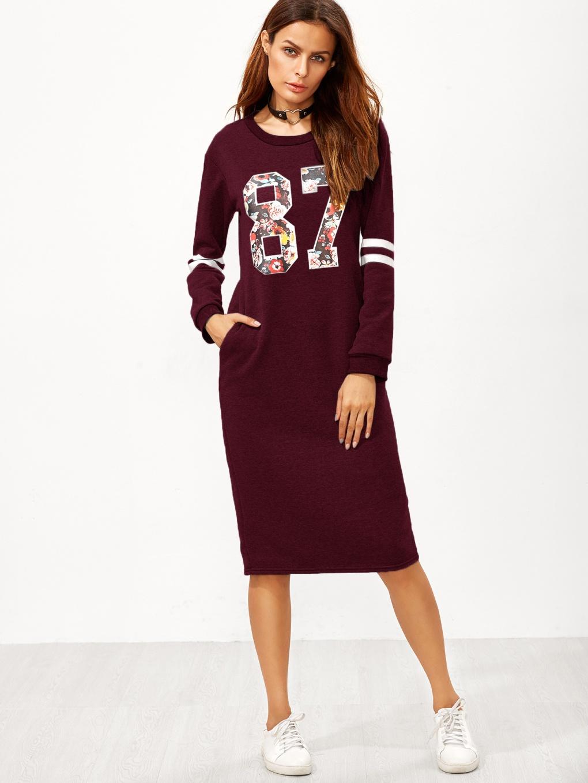 Burgundy varsity print slit back zipper sweatshirt dress